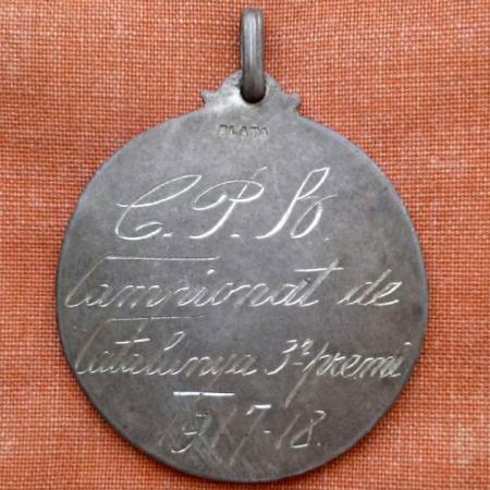 Medalla atorgada a Bau pel tercer lloc al campionat de Catalunya de 1918 amb el F.C.Barcelona