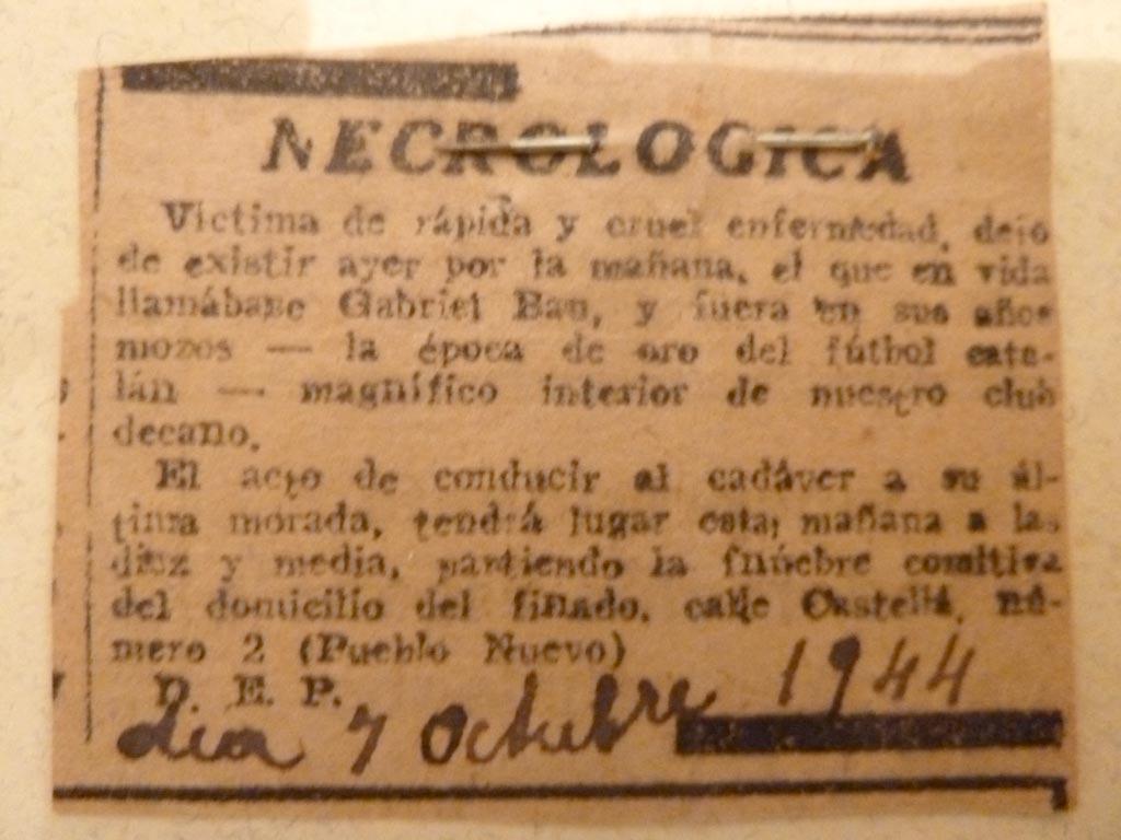 Necrològica grapada en el llibre de propietat del nínxol del cementiri de Les Corts
