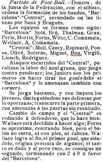8 de Agost de 1909. amb 17 anys jugant amb el Central