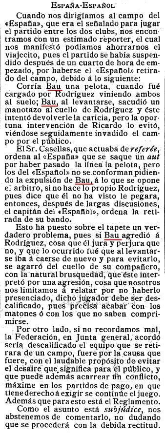 Febrer 1911. España-Español amb incidents i retirada del camp.