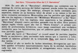 Bau en el Barcelona de la temporada 1914
