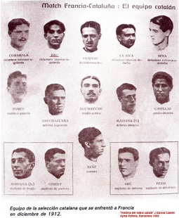 Equipo de la selección catalana que se enfrentó a Francia en diciembre de 1912