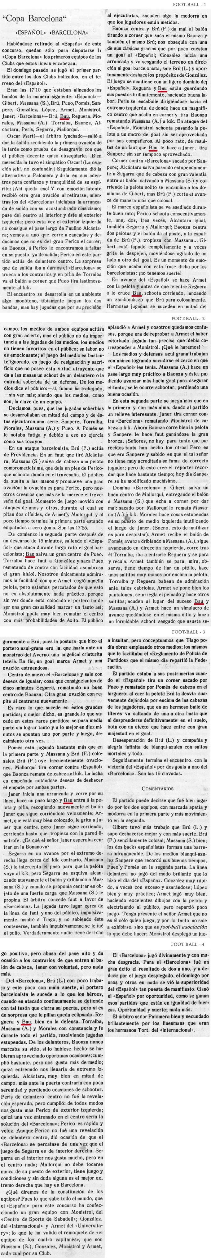 """20 de Juny de 1915. Espanyol 2 - Barcelona 1. Ovació a l´inici pel """"árbitro lynchado""""."""