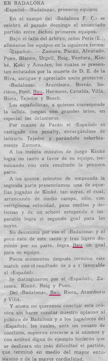 15 Octubre 1916.Español 2 - Badalona 1. Bau marca un gol al gran Ricardo Zamora.