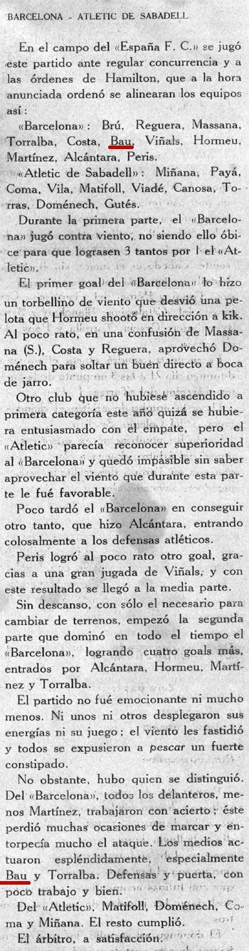 """14 Novembre 1915. Barcelona 7-At. de Sabadell 1. """"Bau espectacular en un partido ventoso""""..."""